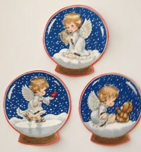Set-of-4-Angel-Baby-Snow-Globes-Iron-On-Fabric-Appliques-Christmas-Crafts