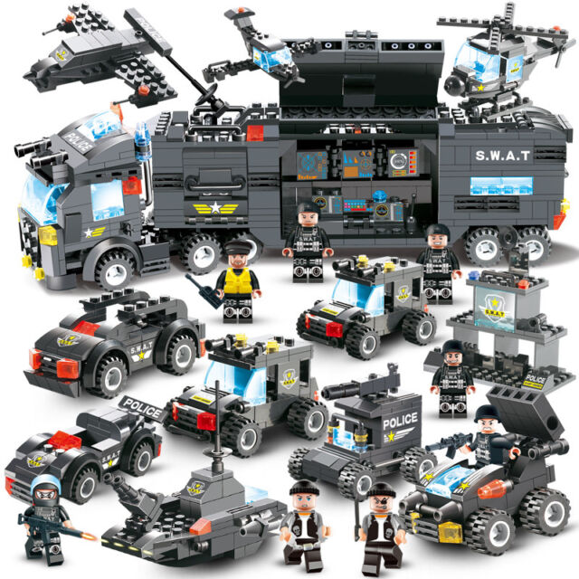 Top Lego City Special Police Series SWAT:8 IN 1 & Truck Station Building Blocks