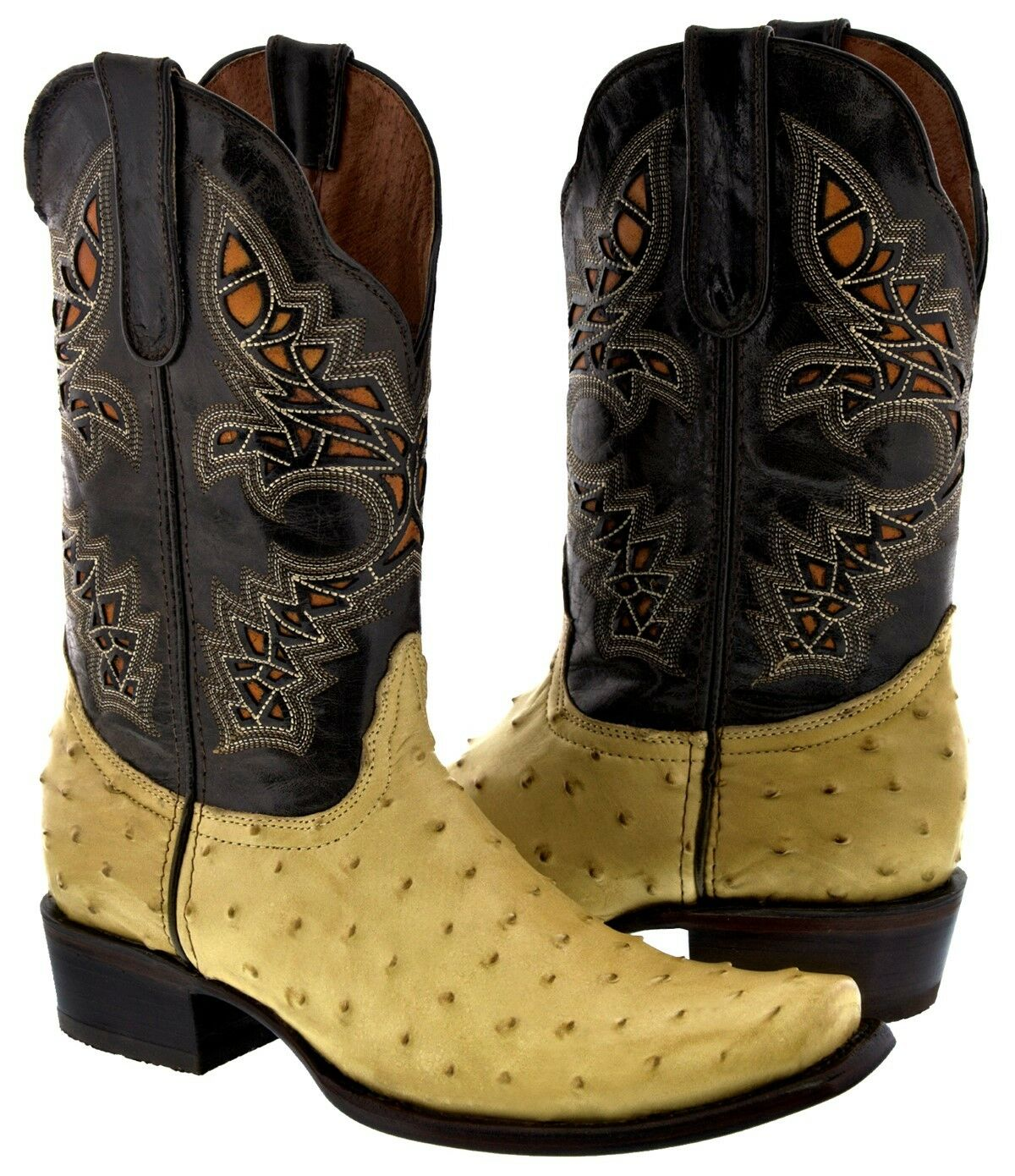 Mens Beige Sand Ostrich Design Western Wear Leather Rodeo Cowboy Boots Square