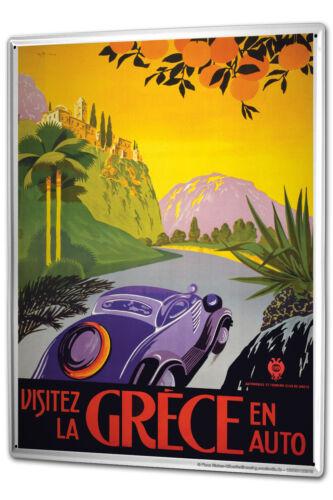 Tôle Plaque XXL globe-trotter Grèce Voiture Palmiers oranges