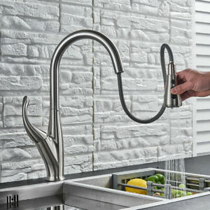 Brushed-Nickel-Kitchen-Sink-Tap-Pull-Down-Sprayer-Mixer-Tap-Single-Handle-Faucet