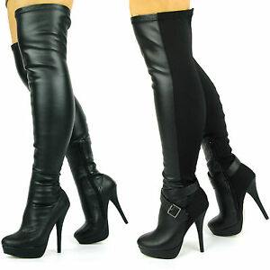 WOMENS STILLETO OVER THE KNEE STRETCH WIDE FIT BLACK THIGH HIGH ...