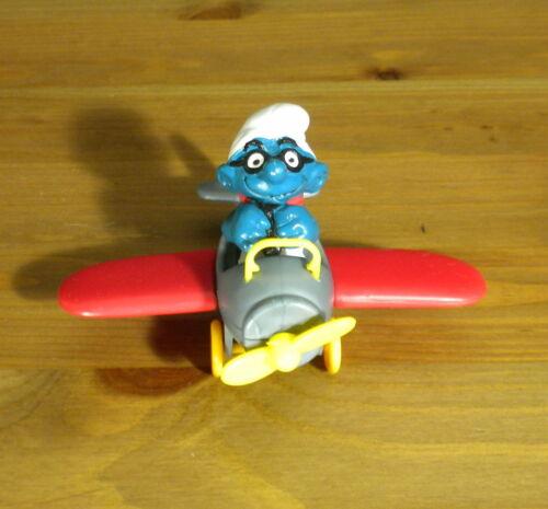 Smurfs 40222 Airplane Smurf Plane Pilot Figure Vintage 1980s Toy PVC Figurine