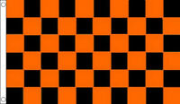 BLACK and TANGERINE ORANGE CHECK FLAG 5' x 3' Checkered Chequered Team Club