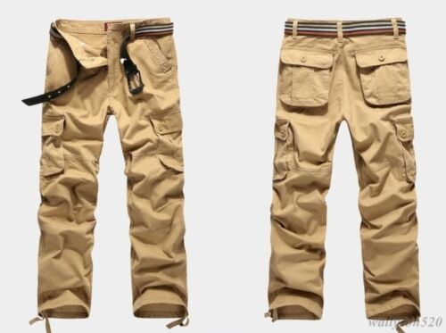 30-44 Mens Military Cargo Pocket Pants overall cotton loose Leisure Trousers