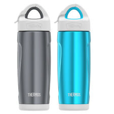 Thermos? Stainless Steel Sport Bottles with Covered Straw 18oz Smoke and Teal