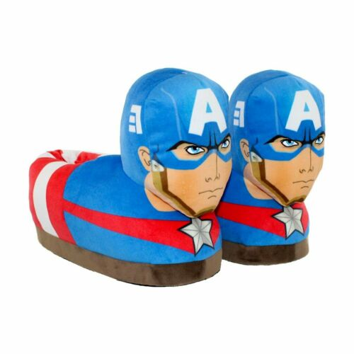 Happy Feet Captain America Marvel Soft Plush Slippers Size XS Toddler 7.5-12