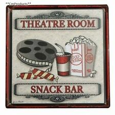 Home Theater Sign Metal Tin Wall Decor Plaque Poster Pub Vintage Snack Bar New