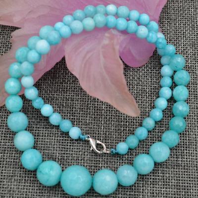 "New 6-14mm Brazilian Aquamarine Round Beads Necklace Earrings Set 18/"""