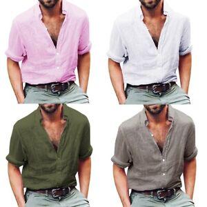 Men-039-s-Linen-Long-Sleeve-Shirt-Cool-Loose-Casual-V-Neck-Shirts-Blouse-Top-P