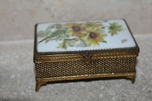 BOITE ancienne en PORCELAINE de LIMOGES FM COFFRET A Bijoux métal doré rQkClf5Z-09091605-166254012