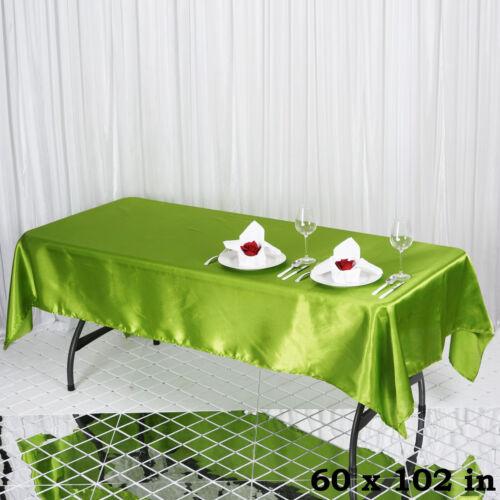 "1 pc SAGE GREEN 60x102/"" RECTANGLE Satin TABLECLOTH Wedding Party Banquet Linens"