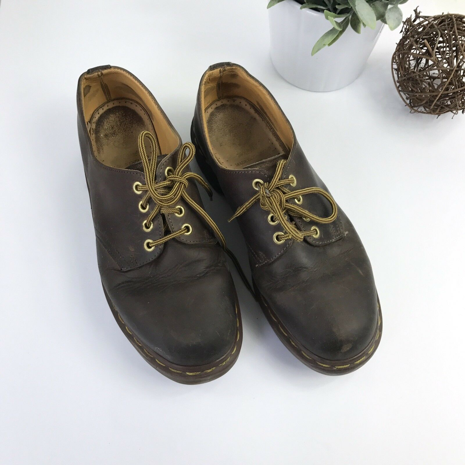 DR. MARTENS Vintage Brown Leather Low Profile 4 Eye Lace Boots 8 Made in England