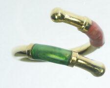 Ladies 18K Solid Yellow Gold Red Green Enamel Wrap Estate Ring J216151