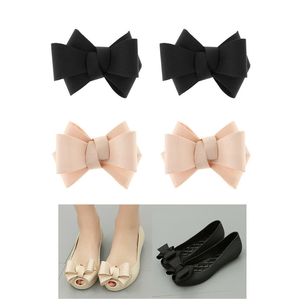 4 Packs Ribbon Bow Shoe Clips Ladies Prom Shoe Charms Buckle Decor 2 Colors