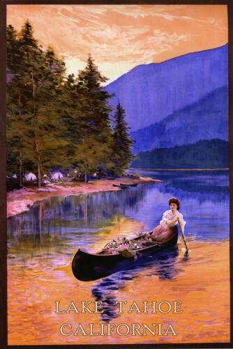 Lake Tahoe Canoe Sierra Nevada California Tourism Vintage Poster Repro FREE S//H
