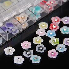 60Pcs 3D Flower w/ Glitter Rhinestone Gem Nail Art Accessory Sticker Decoration