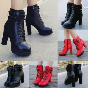 Women/'s High Platform Block Heel Ankle Boots Punk Lace Ups Motor Combat Shoes