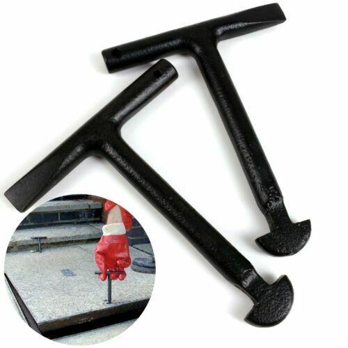 2x Heavy Duty T Manhole Cover Keys solide en acier au carbone Lift Drain Grid Grille Couvercle