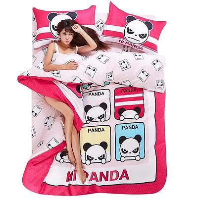 Single Queen King Size Bed Set Pillowcase Quilt Duvet Cover Cute Angry Panda O