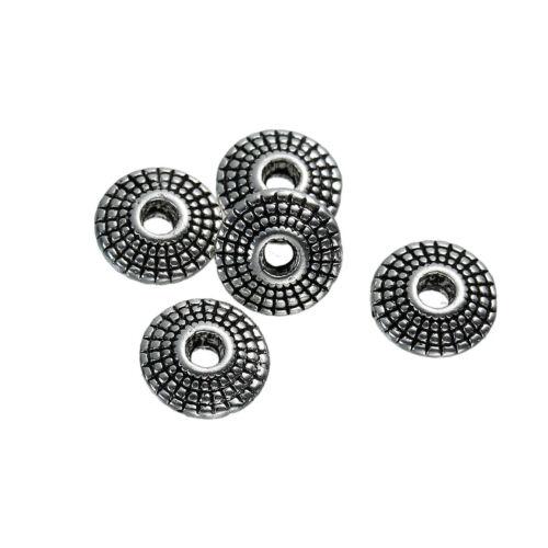 Perle Spacer Scheibe Linse Metall silber /& geschwärzt Streifenmuster 8x4 mm 10x