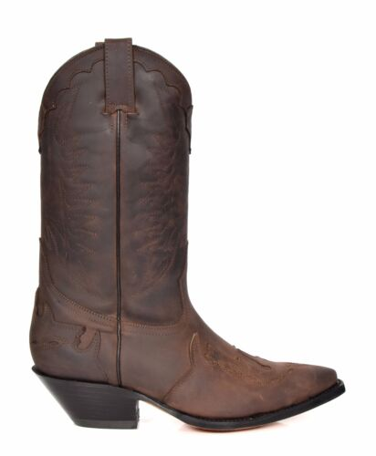 stivali Uomo Pointed On Slip Grinders Leather Stitch Cowboy Brown Toe Design q77Z4