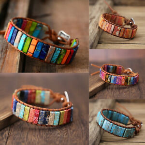 Natural-Stone-7-Chakra-Bracelet-Handmade-Multi-Color-Tube-Beads-Leather-Band-New