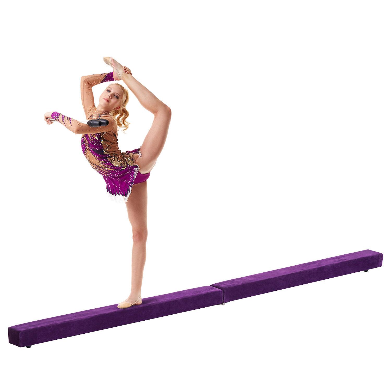 HOMCOM Gymnastics Folding Balance Beam 8FT 2.4M Performance Home Gym Training