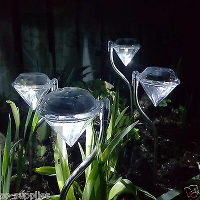 4 X LED DIAMOND SOLAR POWER POWERED LIGHT STAINLESS STEEL POST OUTDOOR GARDEN
