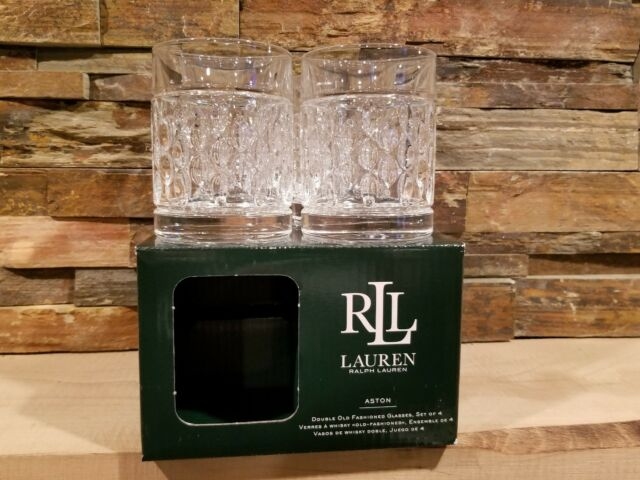 *NIB* Set 4 Ralph Lauren Aston Crystal Double Old Fashioned Whiskey Glasses