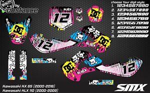 Kawasaki KX 65 graphic kit 2000-2016 KLX110 SMX decals stickers decors Skulls MX