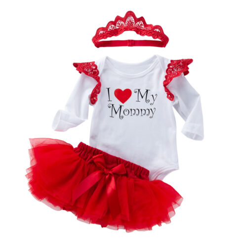 Baby Girls Birthday Romper Skirt Headband Outfits Infant Kids Party Clothes Set