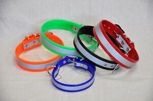 Biothane-Hundehalsband-Reflektor-reflektierend-Hund-Halsband-Farbe-Groesse