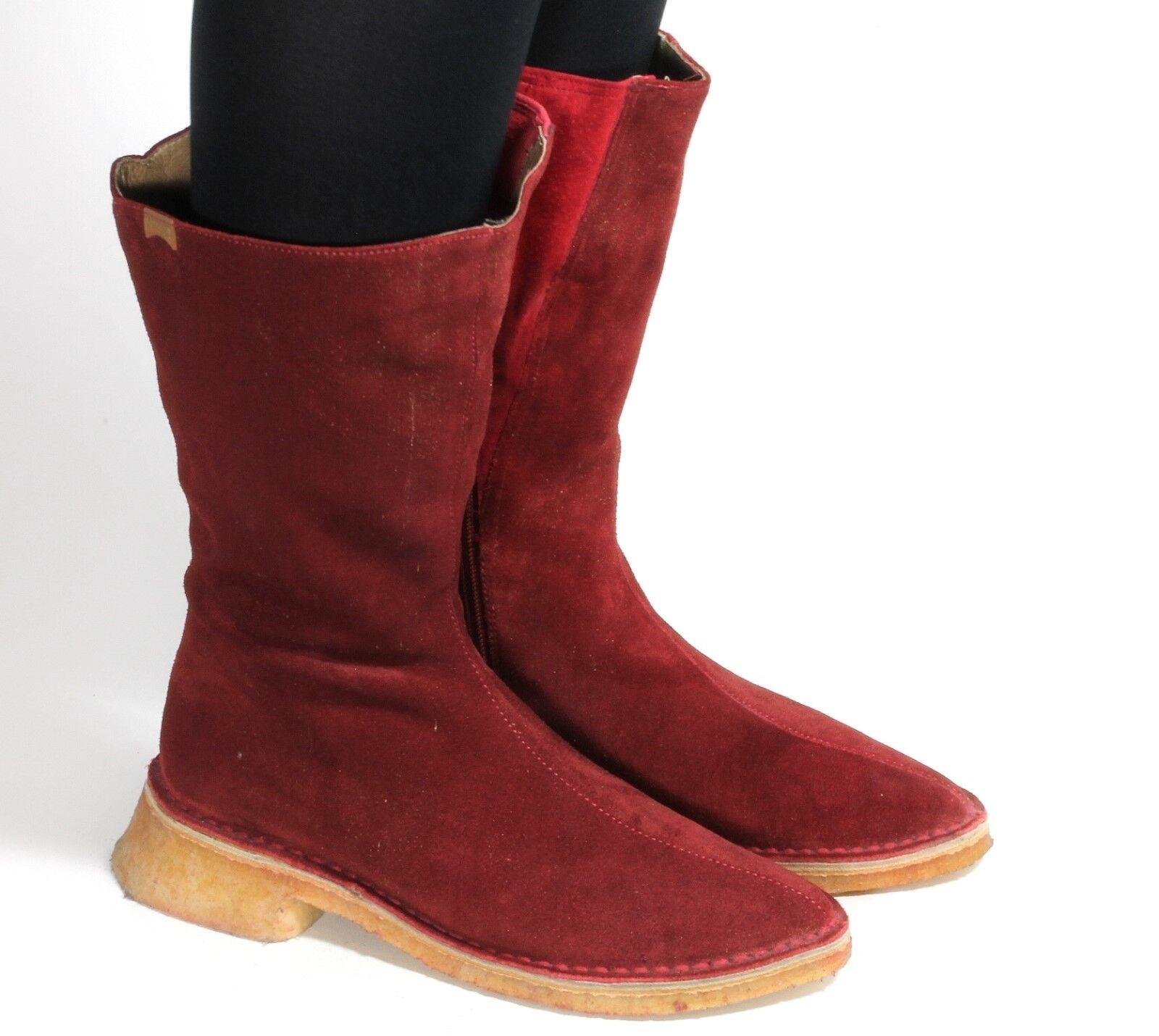 Leder Vintage Stiefel Damenstiefel Hipster Superweitschaft Rot Gold Camper 37  | Der neueste Stil