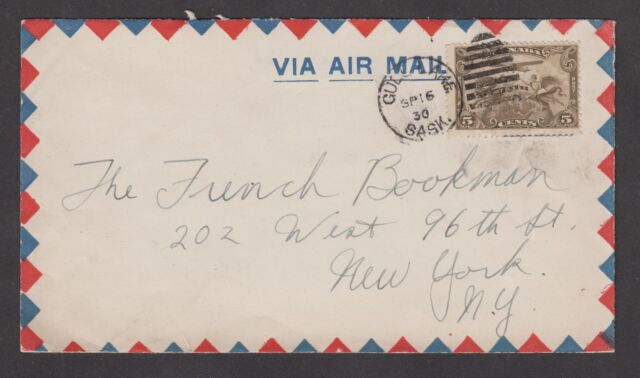 1929 Quill Lake, SK., duplex SP 16. 5c  C1 airmail stamp, to New York, U.S.A.