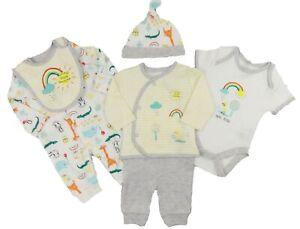 Baby-Jungen-Erstausstattung-Grundlagen-6-Teile-Satz-Jacke-Bein-Top-Body-Hut-Bib