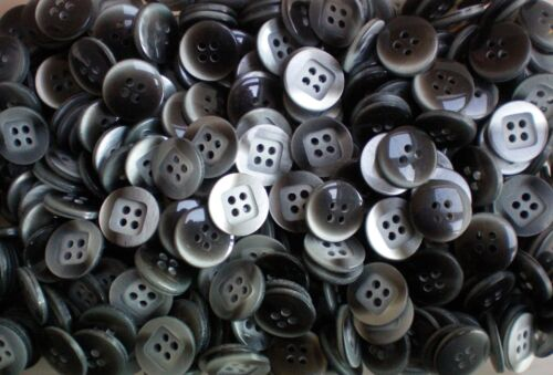 K71 Small 15mm 24L Grey Steel Pearlescent Craft Child 4 Hole Button 50 100