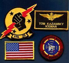 TOM ICEMAN KAZANSKY TOP GUN MOVIE FWS US NAVY F-14 SQUADRON Name Tag Patch Set