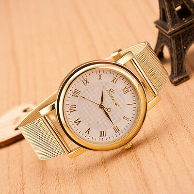 Fashion Women Classic Geneva Alloy Gold Quartz Girl Women Ladies Wrist Watch