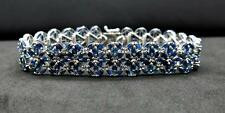 $999 Lovely 23.00ctw Genuine Blue Ceylon Sapphire Solid 925 Siver Bracelet 30.3g