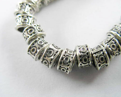 Karen Hill Tribe Silver 10 Imprinted Ring Beads 5.5x3.5mm.