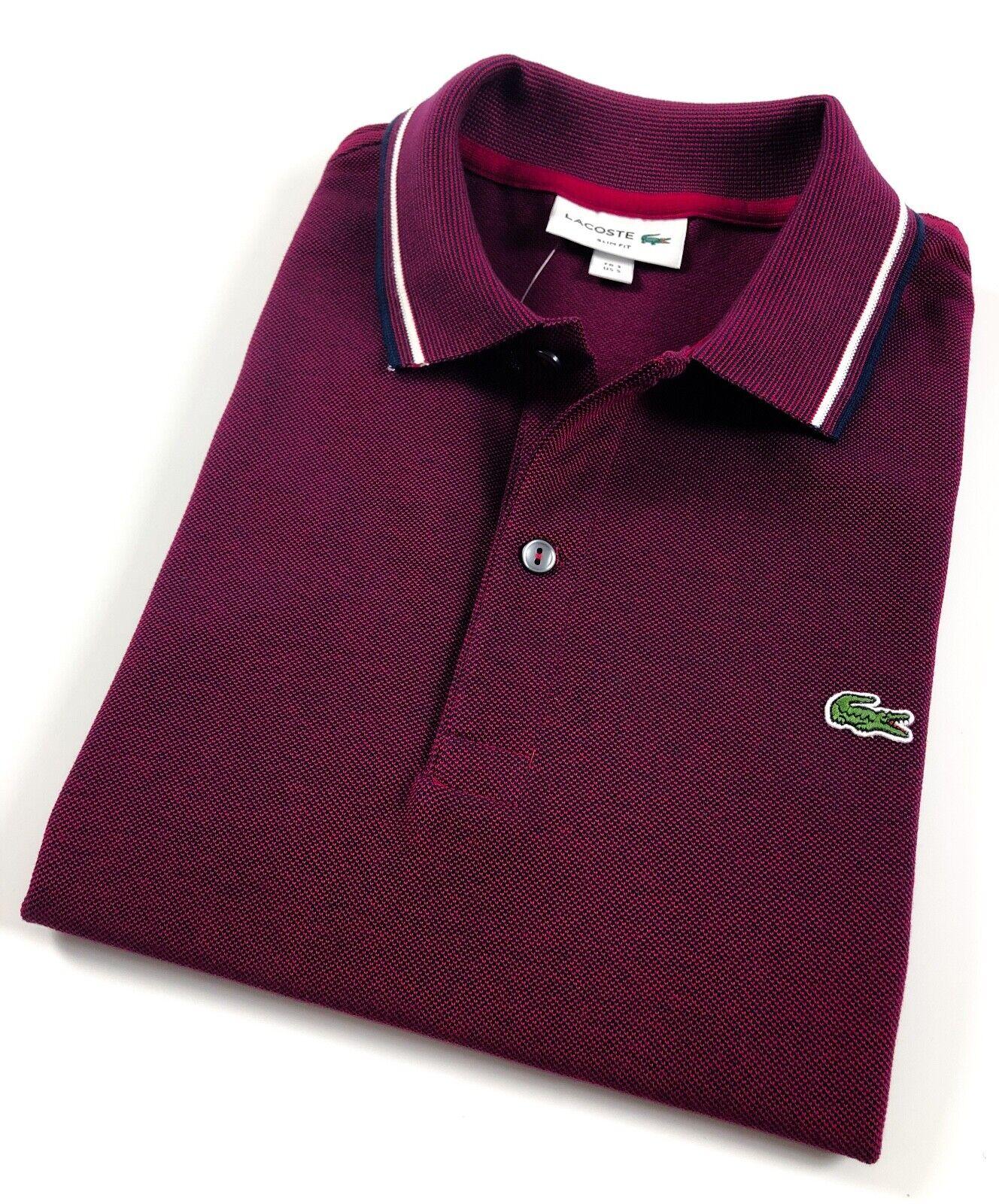 Camisa Polo Lacoste Para hombres Calce Ajustado Burdeos  Marine Algodón Piqué PH1943300209  gran venta