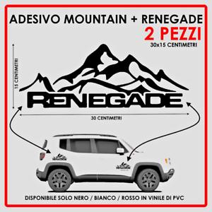 ADESIVO-JEEP-MOUNTAIN-RENEGADE-VINILE-NERO-BIANCO-ROSSO-30x15-CM-SPAZIATO