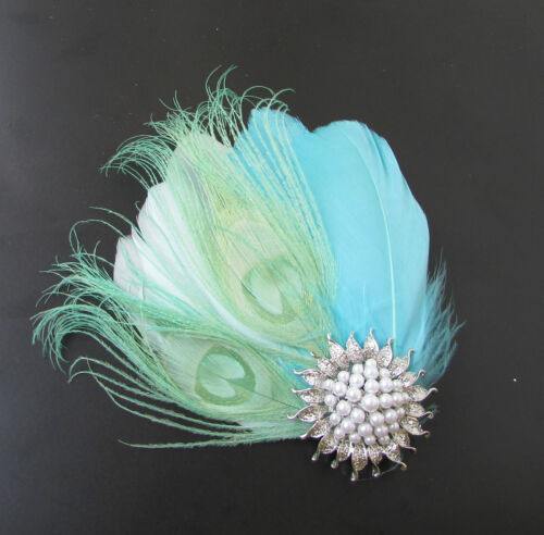 Mint Green Light Blue Turquoise Silver White Feather Fascinator Hair Clip 120