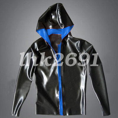 Latex Rubber Men Handsome Hoodie Jacket Sport Shirt Top With
