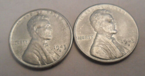 Penny Set **FREE SHIPPING** 1943 S Steel Wheat Cent 2 Coins!