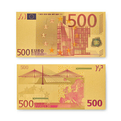 1pcs 500 Euro Gold Banknotes Currency Bill Note Paper Money Souvenir Gifts