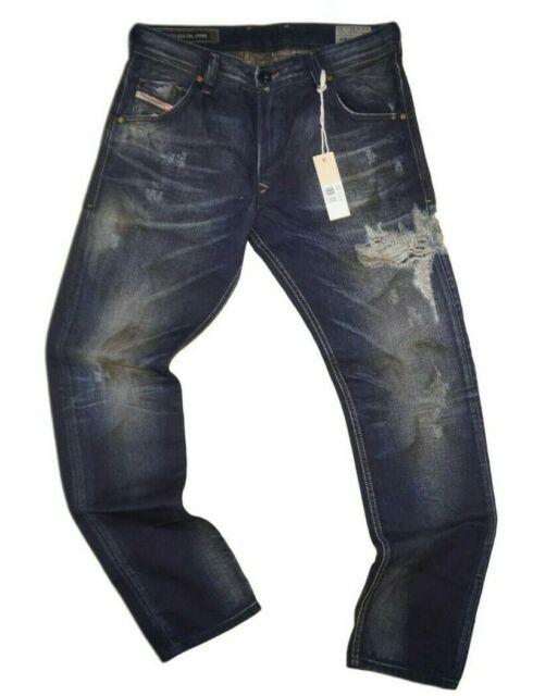 Diesel Krayver 0818I Men/'s Blue Distressed Regular Slim Carrot Jeans