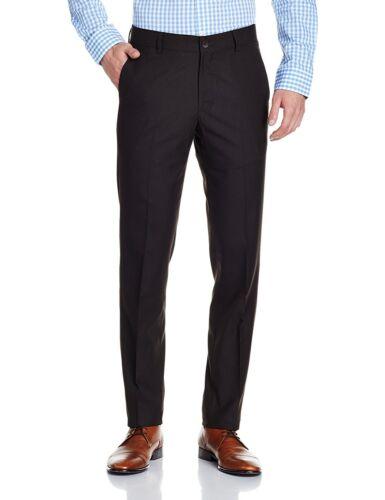 Mens Pants Dark Brown Trousers Flat Front Office Boys School Regular Tall Short