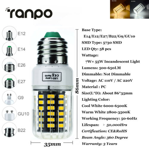 LED Corn Light E12 E14 E27 B22 LED Bulb Replace 30W 100W Lamp No Flicker ST0163